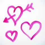 Vector brush stroke hearts with arrow. Vector brush stroke handdrawn hearts with arrow Stock Photography