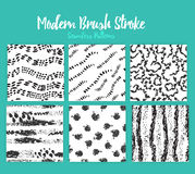 Vector brush stroke patterns on white background in trendy black color Hand drawn Creative Print texture for retro Royalty Free Stock Image