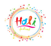 Vector : Brush stroke style of Holi Festival word with colorful Stock Photos