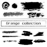 Vector brush strokes, ink stains, graffiti elements  on white. Grange collection, lines, dots and abstract textures Royalty Free Stock Image