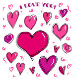 Vector brushed hearts set. Handmade style illustration of sketching hearts royalty free illustration