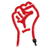 Vector brushed illustration of clenched fist held in protest, ha Stock Photos