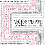 Vector brushes with inner and outer corner tiles. Set of 10 hand drawn vector pattern brushes with inner and outer corner tiles. Editable decorative elements vector illustration