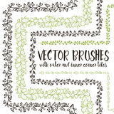 Vector brushes with inner and outer corner tiles. Royalty Free Stock Photos