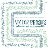 Vector brushes with inner and outer corner tiles. Stock Image
