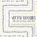 Vector brushes with inner and outer corner tiles. Set of 10 hand drawn vector pattern brushes with inner and outer corner tiles. Editable decorative elements Royalty Free Stock Images