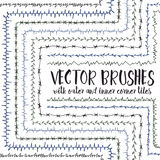 Vector brushes with inner and outer corner tiles. Set of 10 hand drawn vector pattern brushes with inner and outer corner tiles. Editable decorative elements royalty free illustration