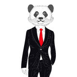Vector brutal panda in elegant classic suit. Hand drawn anthropo Stock Photo