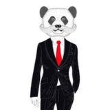 Vector brutal panda in elegant classic suit. Hand drawn Stock Photo