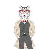 Vector brutal wolf in elegant classic suit with coat. Hand drawn Royalty Free Stock Image