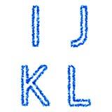 Vector bubble alphabet. Clean blue  bubble alphabet, i, j, k, l Stock Photography