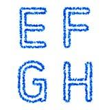 Vector bubble alphabet. Clean blue  bubble alphabet, e, f, g, h Royalty Free Stock Photos