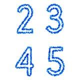 Vector bubble alphabet. Clean blue  bubble alphabet 2, 3, 4, 5 Royalty Free Stock Image