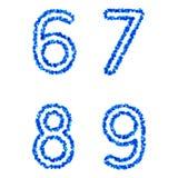 Vector bubble alphabet. Clean blue  bubble alphabet  6, 7, 8, 9 Royalty Free Stock Image