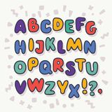 Vector bubble alphabet, Letters A-Z. Vector cartoon funny bubble alphabet, Letters A-Z. Cute outline childish kids ABC in different bright, color on wite vector illustration