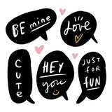 Vector bubbles with cute text, message symbols, direct speech and elements for design, templates stock illustration