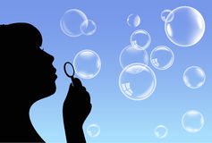 Vector bubbles and girl Stock Photography