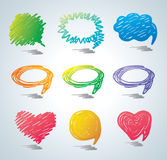 Vector bubbles for speech. Doodle background. Royalty Free Stock Photos