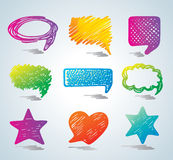 Vector bubbles for speech. Doodle background. Stock Photography