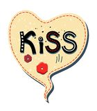 Vector bubbles speech in the shape of a heart on white background. Inside with the text Kiss and Lips vector illustration