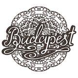 Vector Budapest illustration on mandala background. Retro typography design. Handwritten illustration. Royalty Free Stock Photos