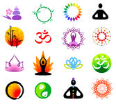 Vector buddhism icons. Vector oriental icons zen set Stock Photography