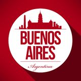 Vector Buenos Aires City Skyline Design royalty free illustration