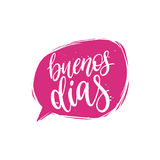 Vector Buenos Dias calligraphy, spanish translation of Good Morning phrase. Hand lettering in speech bubble Stock Photo