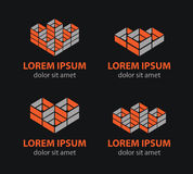 Vector building blocks logo set, abstract geometric logos, structure logos Stock Photos