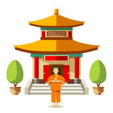 Vector Building of China with china monks Royalty Free Stock Photography