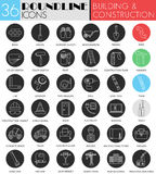Vector building and construction circle white black icon set.  Royalty Free Stock Photos