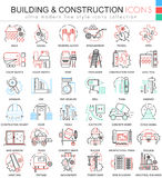 Vector building constructions color line outline icons for apps and web design. Clothes shoes icons. Stock Photo