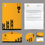 Vector building corporate branding identity. Concept for construction company. Identity mock up template. Letter, envelope, business card, CD Royalty Free Stock Images