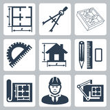 Vector building design icons set Royalty Free Stock Photography