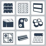 Vector building materials icons set Stock Photos