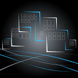 Vector buildings. Abstract illustration of high-rise buildings Royalty Free Stock Images