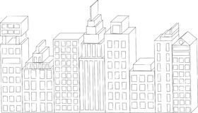 Vector Buildings. City Skyline. Architecture abstr. Vector Buildings. City Skyline, landscape of the city, high-rise buildings Stock Photo