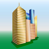 Vector Buildings. Cityscape. Group of objects. Golden, yellow and blue high skyscrapers. Green grass with blue sky at background stock illustration