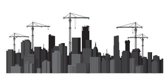 Vector buildings and cranes silhouettes. Stock Images