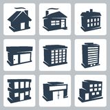 Vector buildings icons set Royalty Free Stock Photography