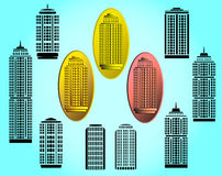 Vector  buildings icons set Stock Photos