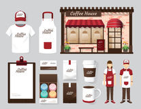 Vector buildings restaurant and cafe shop front design, flyer, m Stock Images