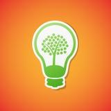 Vector bulb icon. Clean green  ecology bulb icon sticker Stock Photos