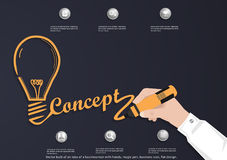 Vector bulb of an idea of a businessman with hands, magic pen, business icon, flat design. Stock Photography