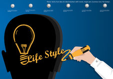 Vector bulb of an idea of a businessman with hands, magic pen, business icon, flat design. Bulb of an idea of a businessman with hands, magic pen, business icon stock illustration