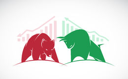 Vector of bull and bear symbols of stock market trends. The growing and falling market Royalty Free Stock Photos