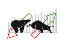 Vector of bull and bear symbols of stock market trends. The growing and falling market. Wild Animals Royalty Free Stock Photos