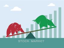 Vector of bull and bear symbols of stock market trends. The growing and falling market. Wild Animals Royalty Free Stock Image