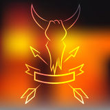 Vector bull skull with horns, arrows and ribbon,  in the style of old school Stock Photo