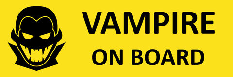 Vector bumper sticker with vampire. Format eps 10. Vector bumper sticker. Vampire on board. Format eps 10 Royalty Free Stock Images